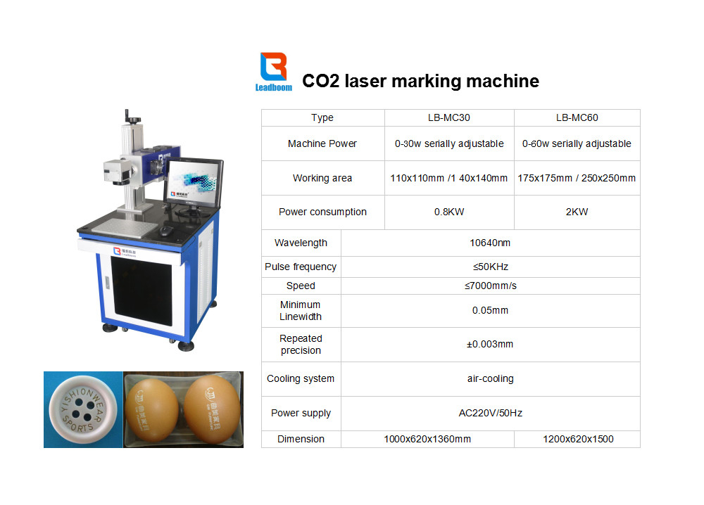 High quality Marking machine  Co2 Laser Marking Machine 100W Water Cooled For Acrylic Board
